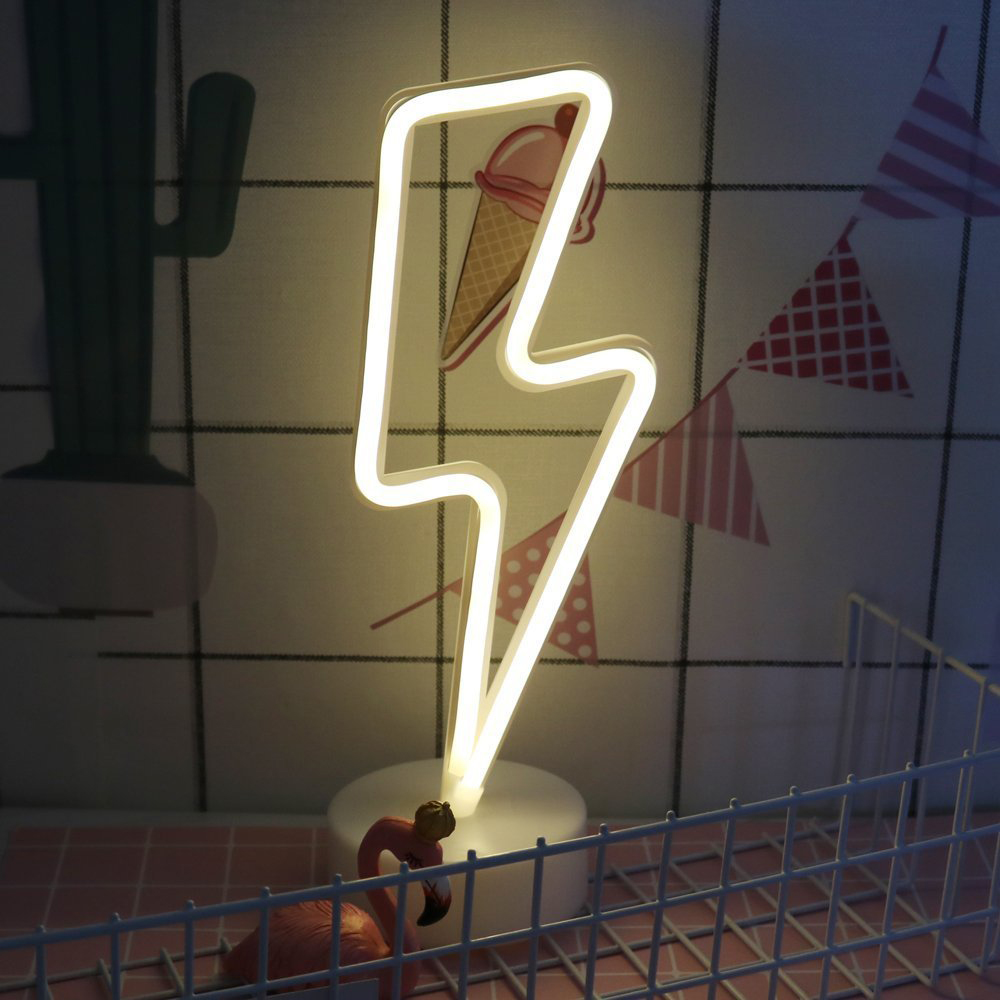 Details about LED Neon Light Signs Lightning Night Lights Battery/USB with  Base Bedroom Decor